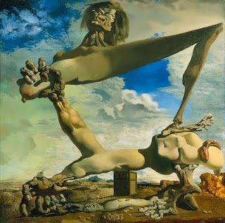 Salvador Dali painted his 'Soft Construction with Boiled Beans' in 1936 during the political unrest in Spain that preceded the Civil War. This dismembered, disfigured and painful image is a symbolic prophecy of the horrors that were to come from the Spanish Civil War. Different parts of the  disfigured body seem to be attacking each other, representing the self-mutilating nature of civil war.