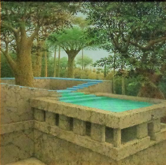 In het schilderij continu teit van hans deuss uit 1994 wordt een robuust stenen fantastisch - Schilderij kooi d trap ...