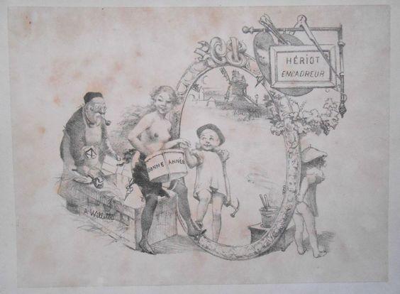 Lithographie Originale DE Willette Publicité Pour Hériot Encadreur Circa 1900…
