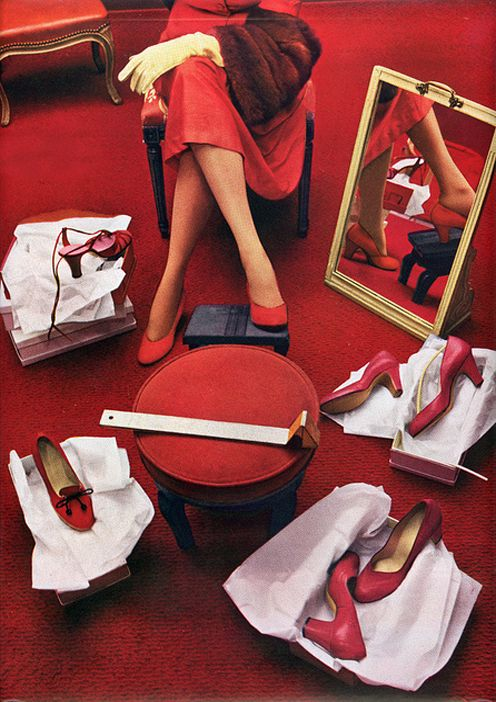 Shopping Red Shoes Harper's Bazaar March 1950 Fashion Photography