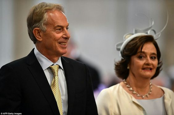 Former Prime Minister Tony Blair & Wife Cheri Blair At The Queen's 90th Birthday Service Of Thanksgiving, June 10, 2016.