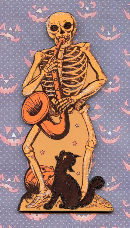 Halloween skeleton skull playing saxaphone black by CoolCatCity, $14.50
