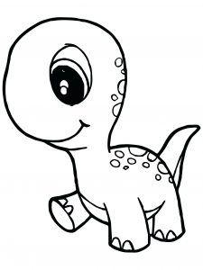 Kawaii Dinosaur Coloring Pages