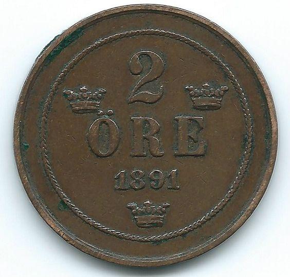 COIN MONEY Sweden 1891 2 Ore Oscar II Bronze  https://ajunkeeshoppe.blogspot.com/  1.0PriorityP727B4.13009IMG2251,2250