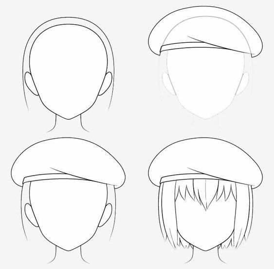 Từng bước vẽ mũ nồi anime