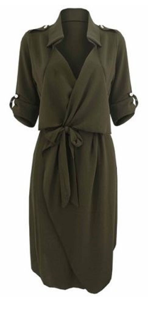 Great Work Dress! Love Khaki! Army Green Stylish Turn-Down Collar Long Sleeve Solid Color Self Tie Belt Women's Trench Coat Style Dress