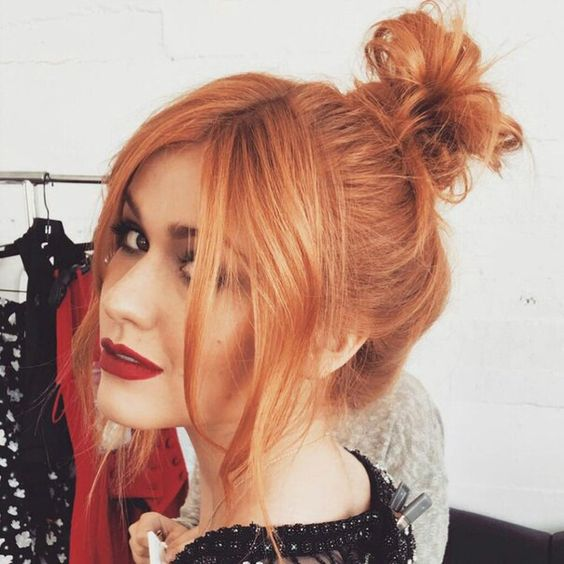 13 Red Hairstyles On Fire This Fall | Messy Bun | Hairstyleonpoint.com