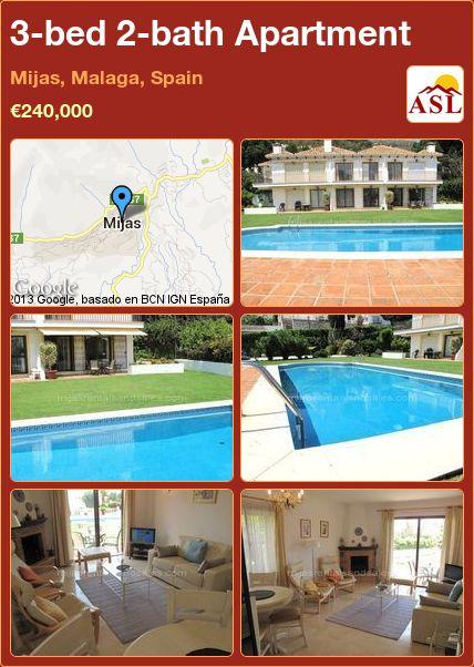 3-bed 2-bath Apartment in Mijas, Malaga, Spain ►€240,000 #PropertyForSaleInSpain