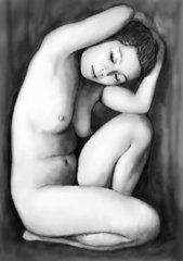 Pop Art Drawings - Nude Girl Drawing Art Sketch - 9 by Kim Wang