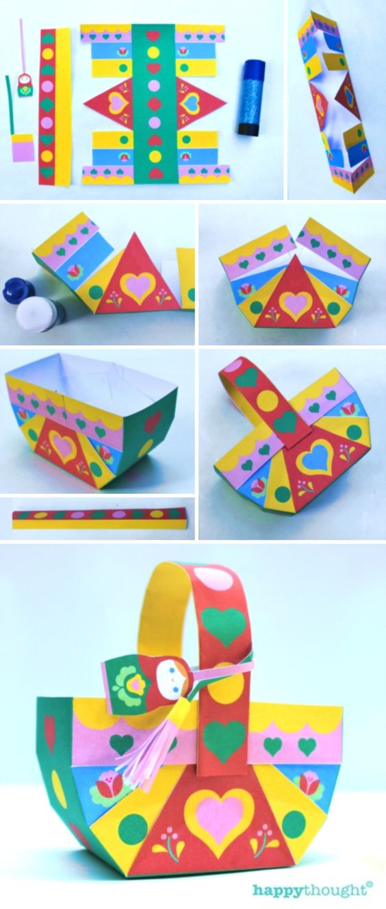 Make a gorgeous paper basket for party favors! Matryoshka printable party pack at happythought.co.uk