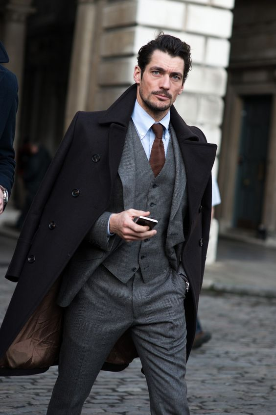 """Mr Gandy as impeccable as ever, grey flannel 3 pieces, nice to see the move away from the scoop shawl DB waistcoat for a change. """"London Collections: Men Street Style - GQ.co.uk"""""""