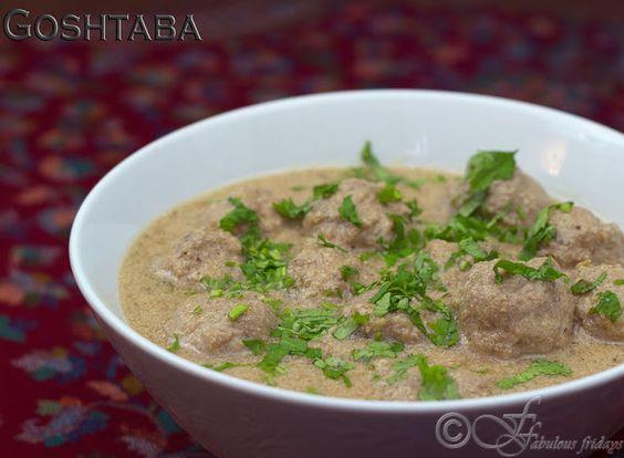 Goshtaba-spiced meatballs cooked in a flavorful yogurt gravy