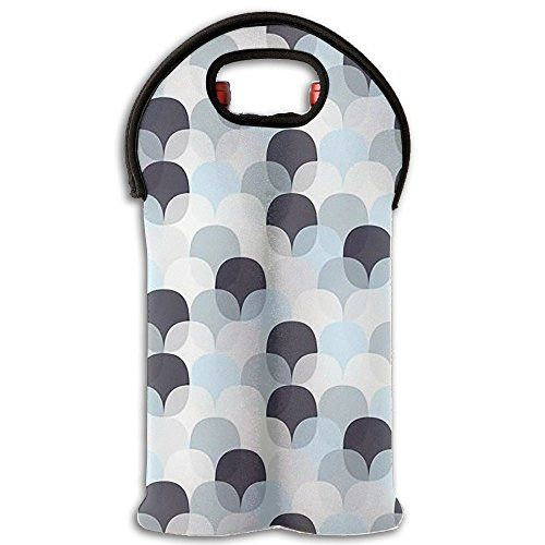 Wine Carrier Travel Tote Cooler Hand Bag 2 Bottles For Travel Black Grey White Circles Neoprene Holder With Secure Carr Wine Carrier Travel Tote Black And Grey