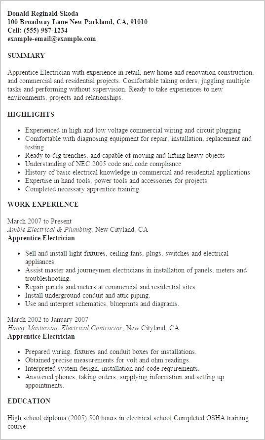 Pin By Charlene T Rasmussen On Electrician Job Resume Samples Sample Resume Cover Letter Cover Letter For Resume