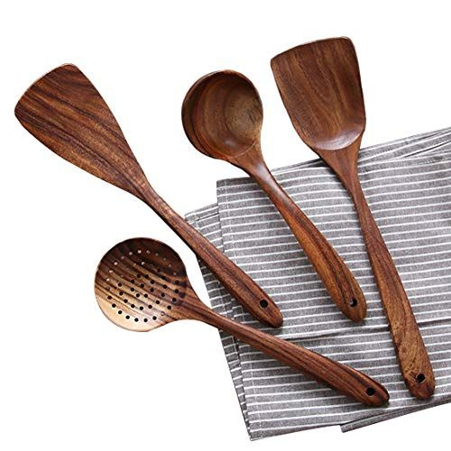 Ubae Teak 4 Piece Set Kitchen Utensils Wooden Kitchenware Https Www Amazon Com Dp B075d Wood Kitchen Utensils Wooden Cooking Utensils Plastic Free Kitchen