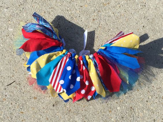 Circus fabric tutu skirt blue red turquoise and yellow by LilNicks