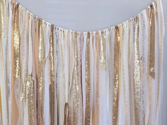 Shades Of Gold Sequin Lace Ribbon Sparkle Wedding Backdrop Fabric Garland Curtain Rustic