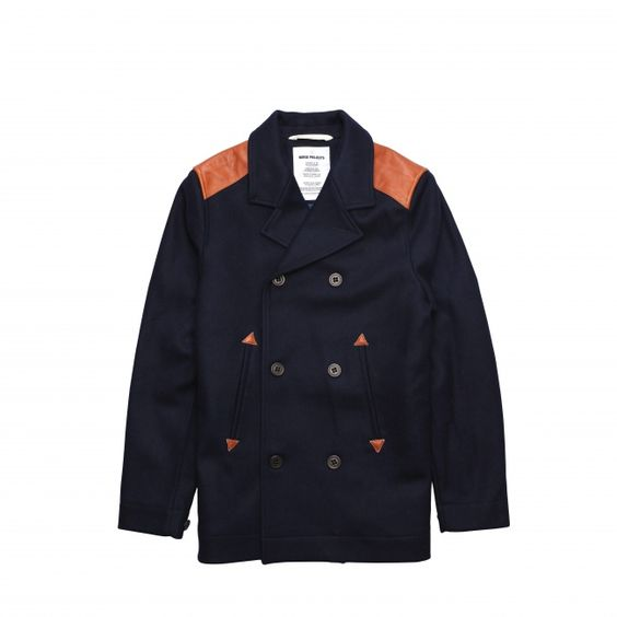 Classic peacoat made of heavy weight wool from Italy. Featuring leather shoulder patches and chambray lining. 80% Wool, 20% PA. Made in Europe. - Norse Projects