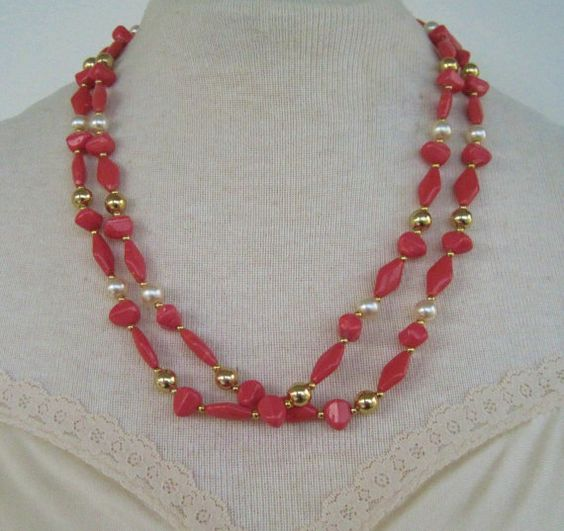 Vintage 80s Traditional Preppy Goldtone Faux Pearl Salmon Pink Free Form Double Strand Bead Necklace by ThePaisleyUnicorn, $5.00