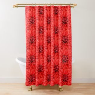 Red Dahlia Closeup Shower Curtain By Angiec333 Red Shower