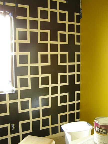 Paint Designs On Walls With Tape Ideas pleasing paint designs on walls with tape ideas wall paint designs jupacolor paint designs on Accent Wall Tape Off Perfect Square Pattern And Then Paint Over With Oher Color