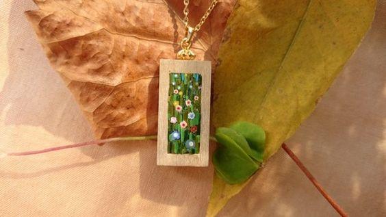 ミクロモザイクペンダント - micromosaic pendant - inspired by  painting of G. Klimt