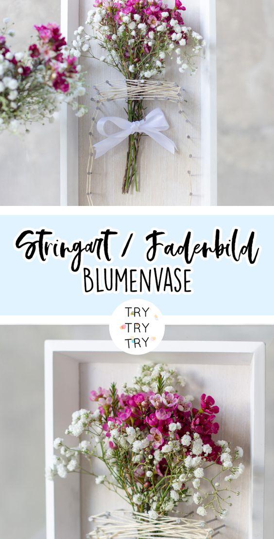 DIY Deko: Blumenvasen-Fadenbild / String-Art