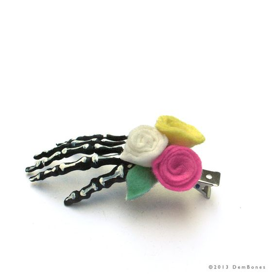 Skeleton Hand Hair Clip - Bridesmaids Hair Clips  Pastel pink yellow mint - pinned by pin4etsy.com