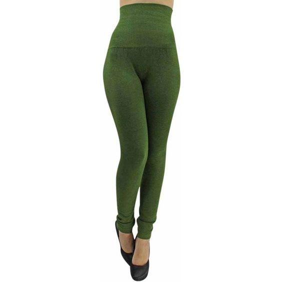 Olive Green Compression Leggings With Terry Lining ($27) ❤ liked on Polyvore featuring olive