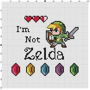 I'm not Zelda, Link Legend of Zelda - Cross Stitch Pattern - Instant Download