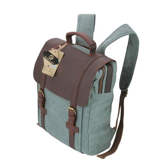 I want one! :) >> Koolertron Mochila Retro de Cuero y Lona Bolso de Viaje Bolso de Laptop (Azul): Amazon.es: Zapatos y complementos