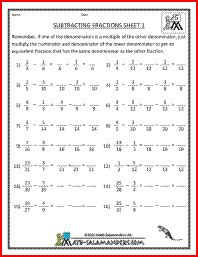 math worksheet : subtracting fractions 1 adding subtracting fractions 5th grade  : Adding And Subtracting Fractions Worksheets With Answer Key