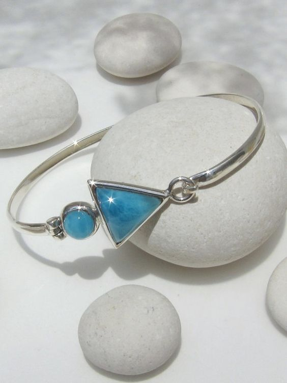 Larimar hook cuff, Atlantis Gipsy - lovely beachy tropical blue Larimar triangle - Wrist: 8