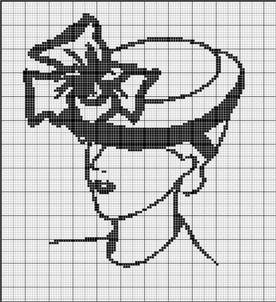 0 point de croix monochrome femme chapeau - cross stitch lady with hat: