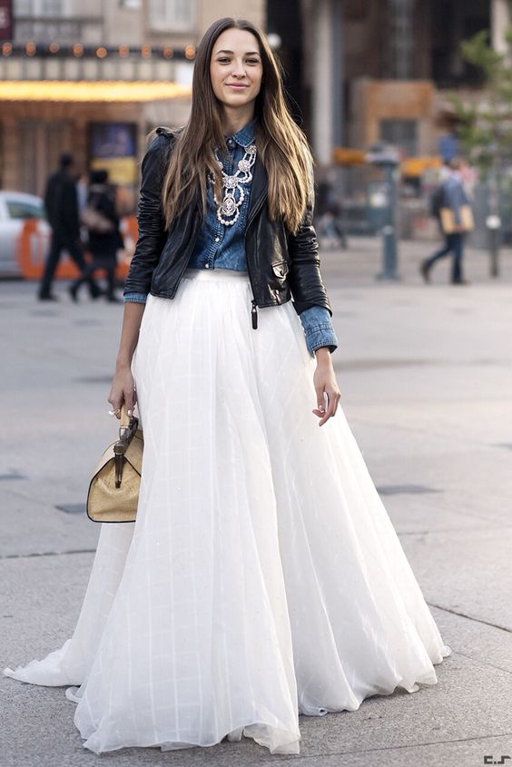 modest chambray shirt with white maxi skirt fashion
