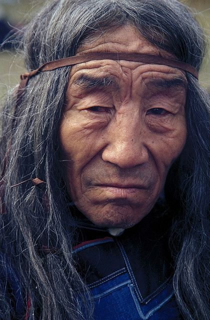 An old Evenk shaman's face. Ulan-Ude. The Republic of Buryatia.: