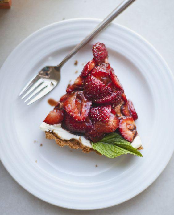 ROY JOY: No-Bake Balsamic Strawberry Tart with Ginger Coconut Crust