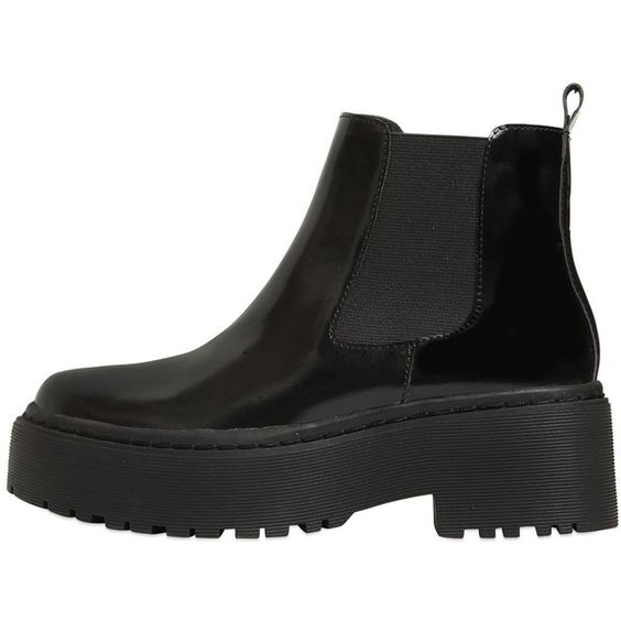 Jeffrey Campbell Women 55mm Universal Brushed Leather Boots (€190) ❤ liked on Polyvore featuring shoes, boots, black, black shoes, leather platform boots, black leather shoes, genuine leather boots and black boots