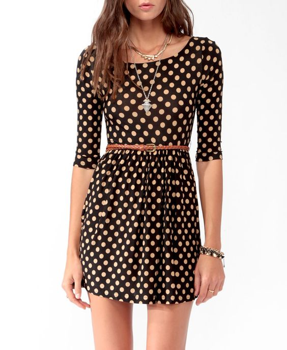 Polka Dot Skater Dress w/ Belt | FOREVER21 - 2021840627