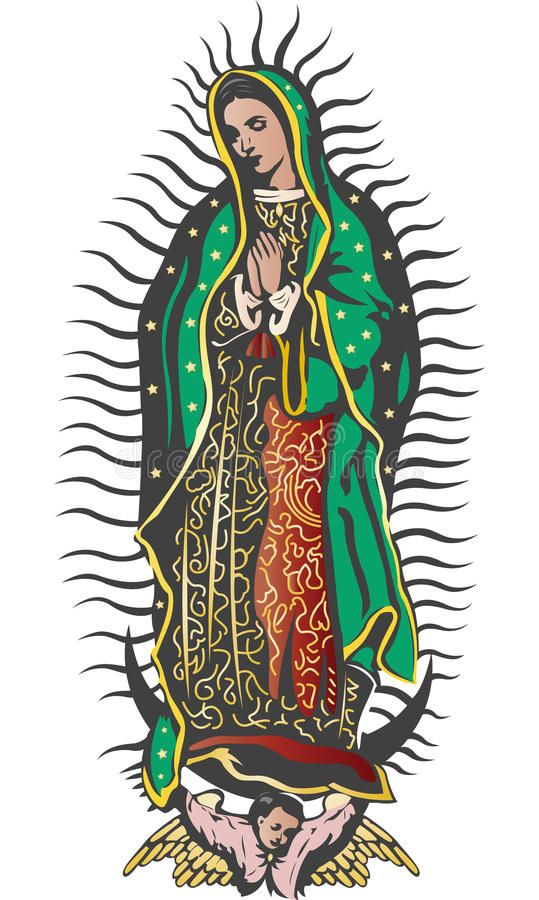 Mexican Virgin Of Guadalupe Color Vector Easy Edit