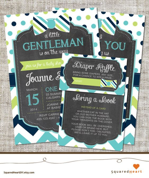 Bowtie Baby Shower Ideas | Boy, Teal, Lime Green, Navy Blue, Chevron | PERSONALIZED Bowtie Printable Baby Shower Invitation Set | Invitation, Thank You Card, Diaper Raffle and Bring a Book | SquaredHeartDIY