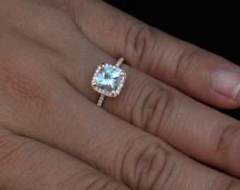 14k Rose Gold 7mm Aquamarine Cushion and Diamonds Single Halo Ring (Choose color and size options at checkout)