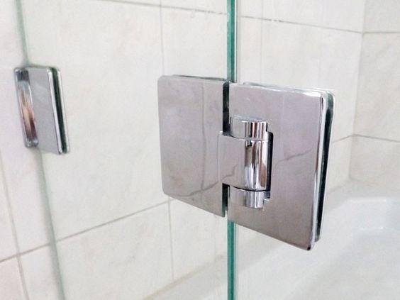 apto para vidrio de 8-10 mm vidrio sin perforaci/ón Paquete de 2 bisagras para puertas de vidrio Bisagra de conexi/ón de vidrio doble de 180 /° acero inoxidable