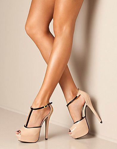 Fabulous Cream High heels Black Straps Platform 2015 Trendy Shoes