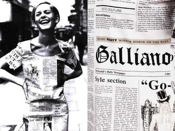 INSPIRATION Twiggy 1966... Christian Dior SS||2000 This picture of sixties super model Twiggy wearing a dress made out of newspapers [left] might have been an inspiration to John Galliano's hobo-chic collection for Christian Dior SS||2000 and a specific newspaper print featuring news on Galliano himself [left]. Newspaper dresses were huge in the 1960s,  they were made of actual newspaper and would of course get ruined if it rained.