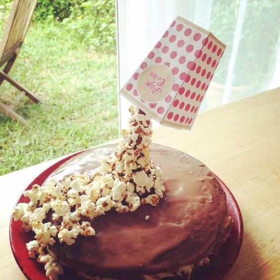 Gravity cake au pop corn