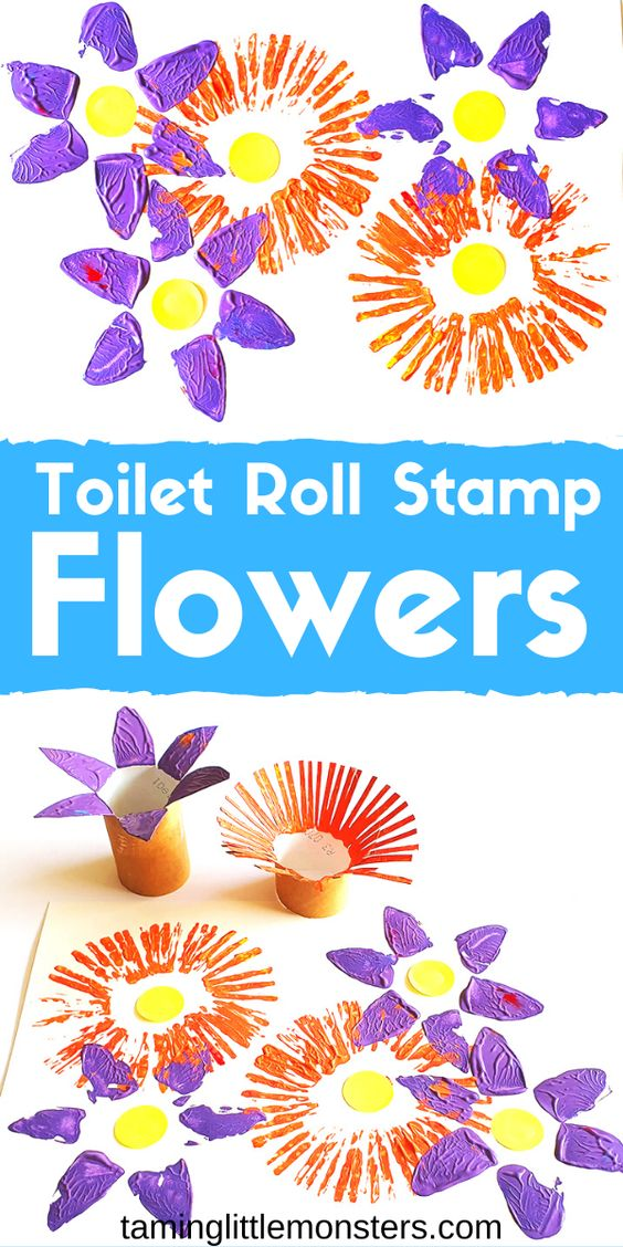 Learn how to turn toilet rolls into flower stamps with this fun Spring art activity for kids. Toddlers and preschoolers will love making a field of wildflowers with this easy craft activity.  #artsandcrafts #toddler #preschooler #spring