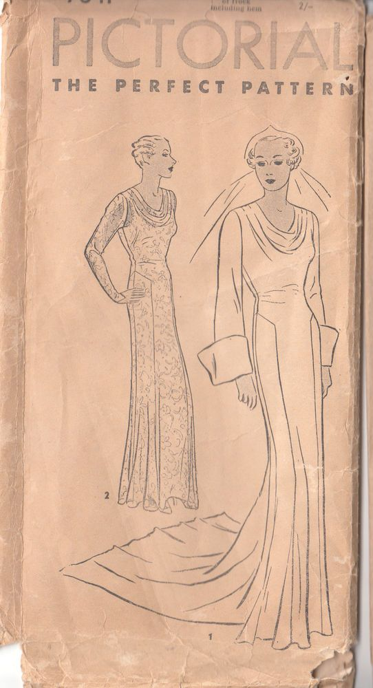 Details about fabulous 1930s pictorial cowl neck wedding for Cowl neck wedding dress pattern