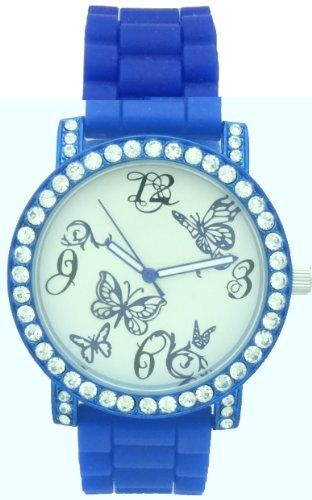 Mark Naimer Butterfly Blue Watch Rhinestone on Bezel Blue Case N Silicon Rubber Band for only $19.99 You save: $60.01 (75%)