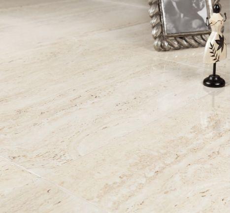 Highly Polished Travertine Effect Porcelain Floor Tile Add